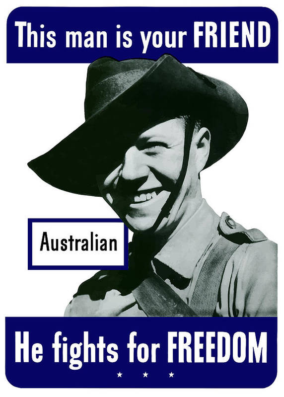Australian Soldier Art Print featuring the painting Australian This Man Is Your Friend by War Is Hell Store