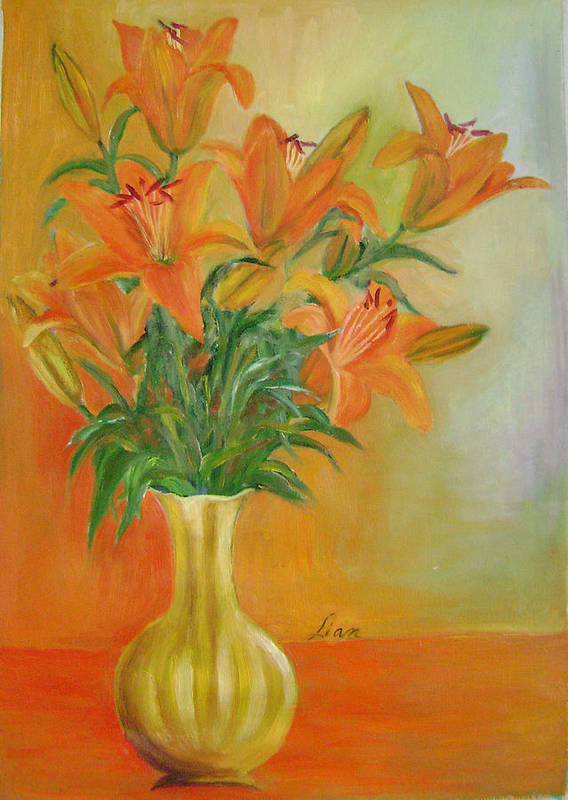 Floral Art Print featuring the painting Autumn Profusion by Lian Zhen