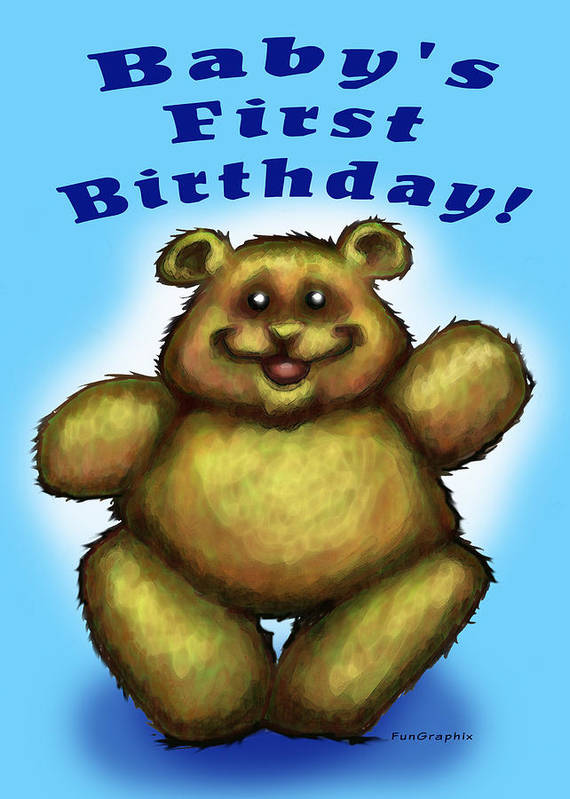 Baby Art Print featuring the greeting card Babys First Birthday by Kevin Middleton