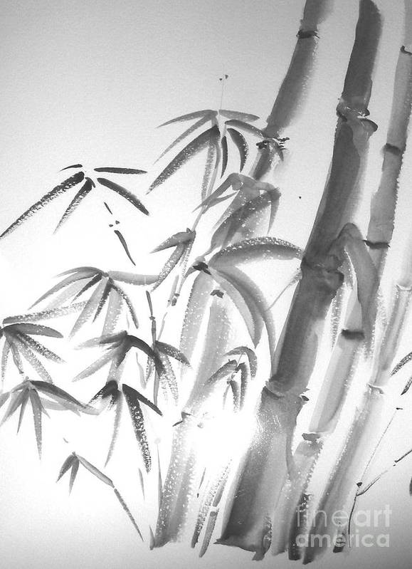 Sumi -e Art Print featuring the painting Bamboo 2 by Sibby S