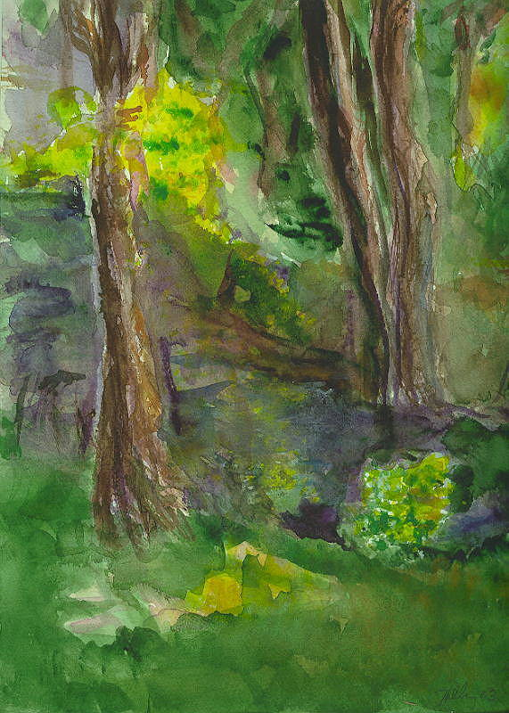 Water Trees Landscape Impressionist Hillaryart Art Print featuring the painting Bandera Trees by Hillary McAllister