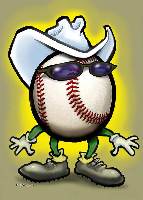 Baseball Art Print featuring the greeting card Baseball Cowboy by Kevin Middleton