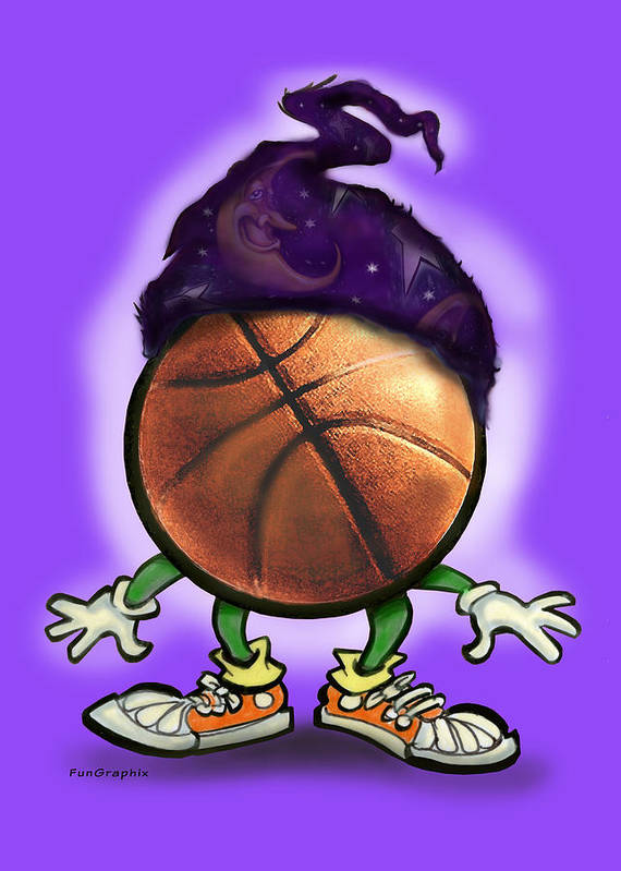 Basketball Art Print featuring the greeting card Basketball Wizard by Kevin Middleton