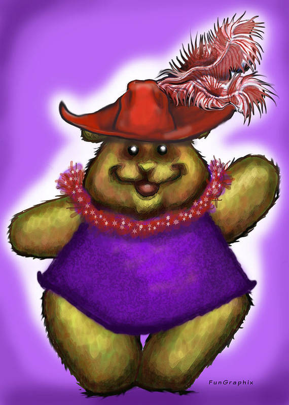 Red Hat Art Print featuring the greeting card Bear In Red Hat by Kevin Middleton