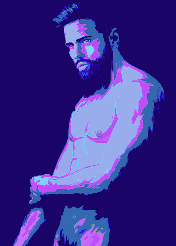 Man Art Print featuring the painting Beard by Bad Robin