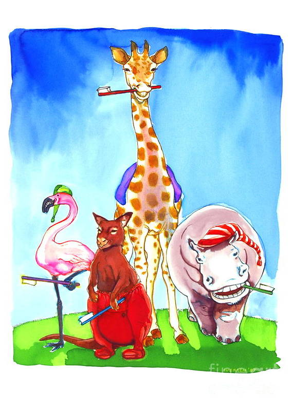 Wildlife Art Print featuring the painting Bedtime Animals by Jill Iversen