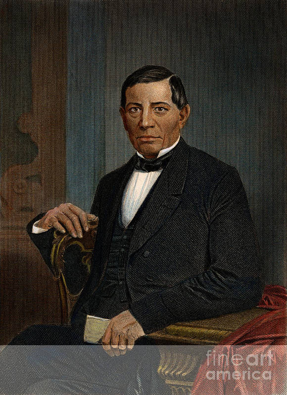 1870 Print featuring the photograph Benito Juarez (1806-1872) by Granger