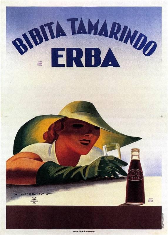 Bibita Tamarindo Art Print featuring the mixed media Bibita Tamarindo - Erba - Vintage Drink Advertising Poster by Studio Grafiikka