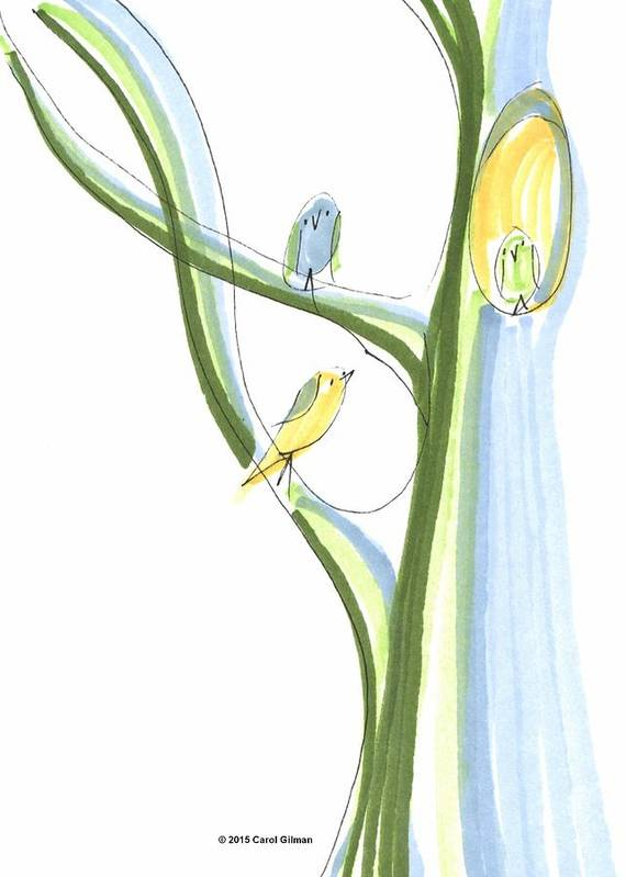 Bird Art Print featuring the drawing Bird Chatter In The Branches by Carol Gilman