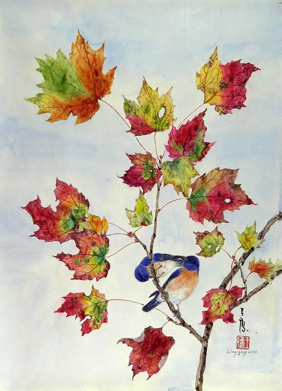 Bird Art Print featuring the painting Birds On Maple Tree 8 by Ying Wong