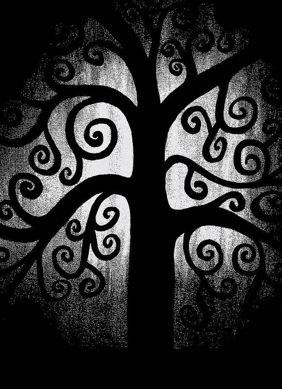 Black And White Art Print featuring the painting Black And White Tree by Angelina Vick