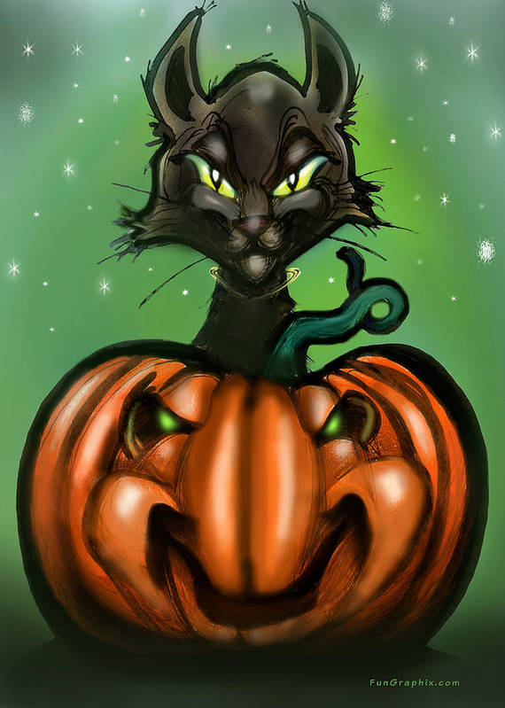 Halloween Art Print featuring the greeting card Black Cat N Pumpkin by Kevin Middleton