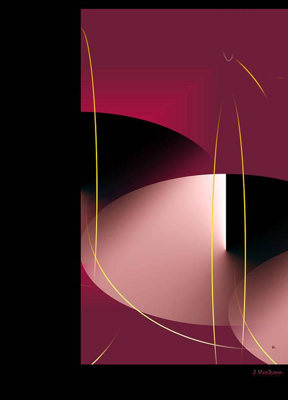 Abstract Digital Art Art Print featuring the digital art Black Vs White Vs Red by John Krakora