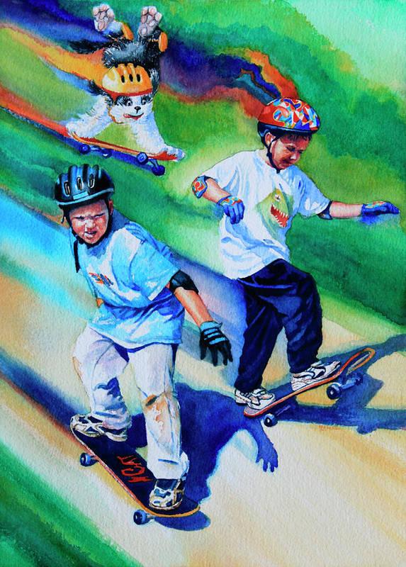Skateboard Art Print featuring the painting Blasting Boarders by Hanne Lore Koehler