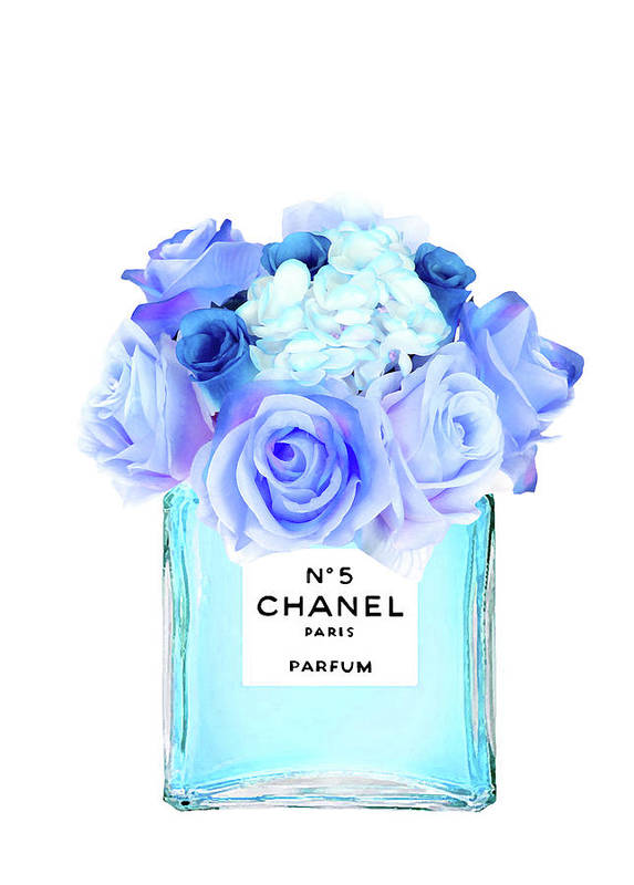 blue chanel no5 with blue roses art print by del art