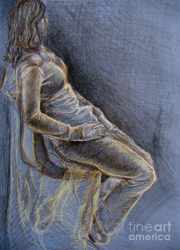 Figure Art Print featuring the drawing Blue by Iglika Milcheva-Godfrey