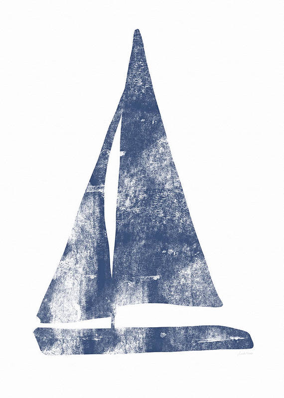 Boat Art Print featuring the painting Blue Sail Boat- Art By Linda Woods by Linda Woods