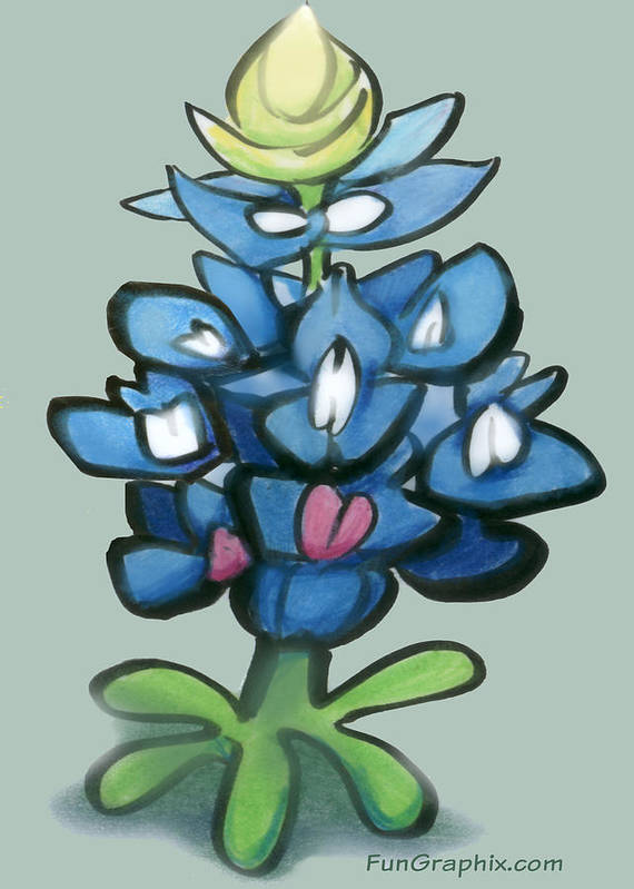 Bluebonnet Art Print featuring the digital art Bluebonnet by Kevin Middleton