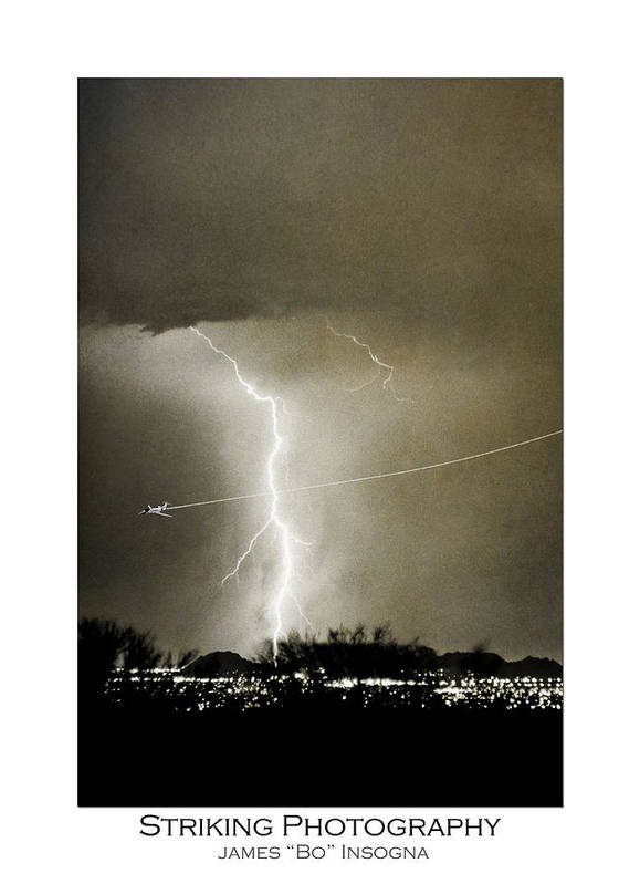 Lightning Art Print featuring the photograph Bo Trek Lightning Bw Fine Art Poster Print by James BO Insogna