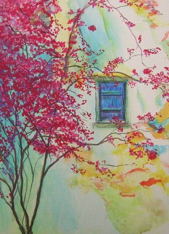 Bouganvilla Art Print featuring the painting Bouganvilla And Blue Shutter by Lizzy Forrester