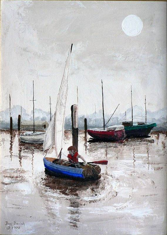 Blue Sailboat Art Print featuring the painting Boy In Blue Sailboat by Dan Bozich