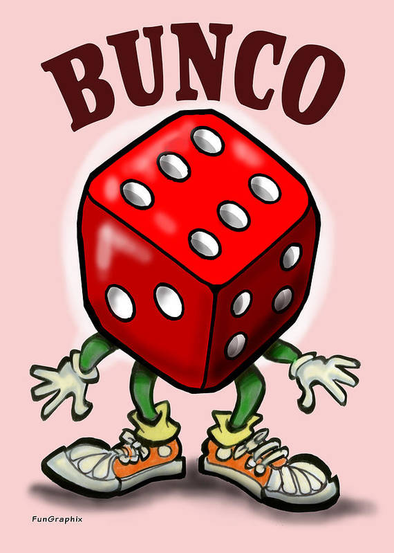 Bunco Art Print featuring the greeting card Bunco by Kevin Middleton