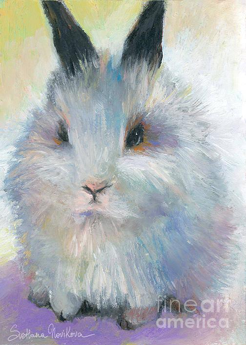 Bunny Print featuring the painting Bunny Rabbit Painting by Svetlana Novikova