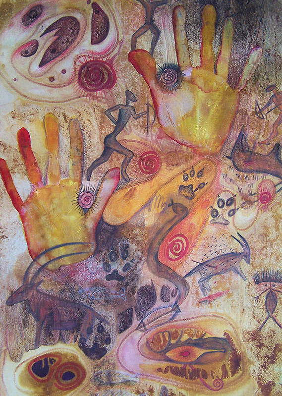 Bushman Art Print featuring the painting Bushman Comes Alive by Vijay Sharon Govender