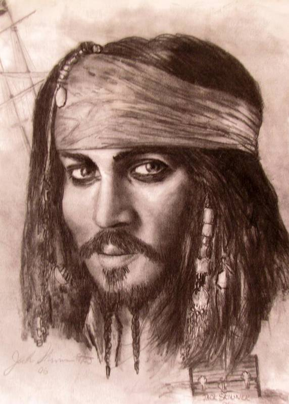 Pirate Art Print featuring the drawing Capt.jack by Jack Skinner