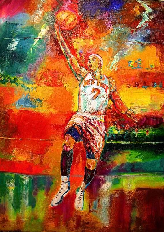 Carmel Anthony Basketball New York Knicks Art Print featuring the painting Carmelo Anthony New York Knicks by Leland Castro