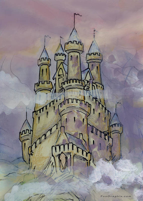 Castle Art Print featuring the greeting card Castle by Kevin Middleton