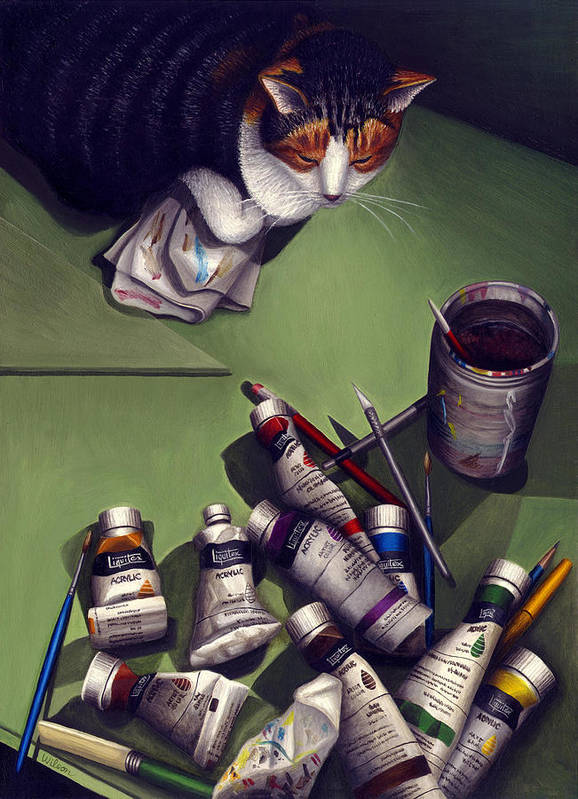 Calico Tabby Cat Art Print featuring the painting Cat And Paint Tubes by Carol Wilson
