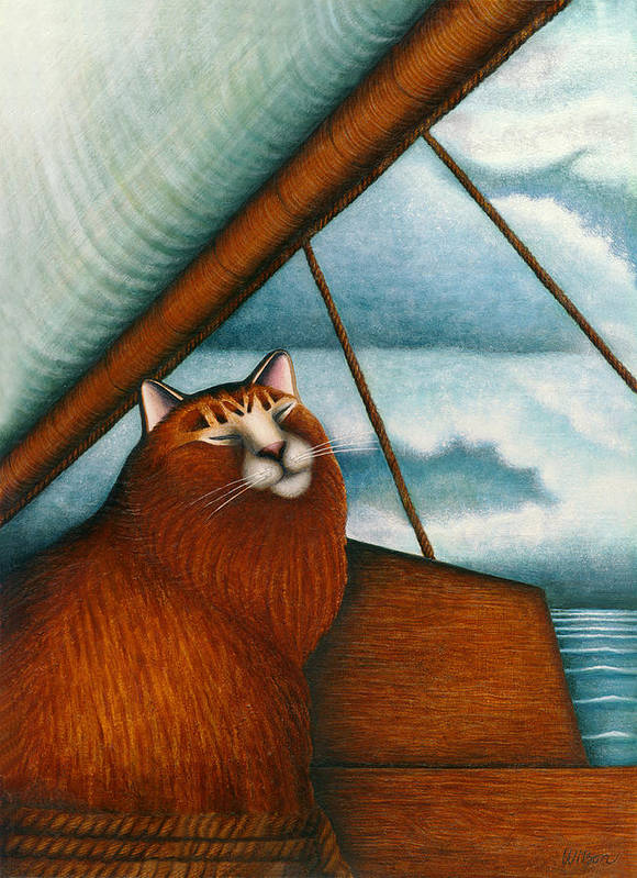 Orange Tabby Cat Art Print featuring the painting Cat On Sailboat by Carol Wilson