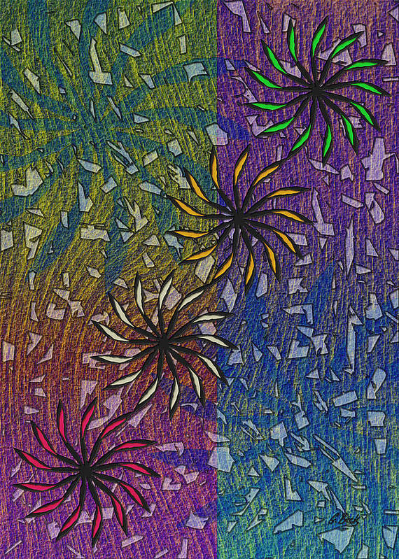 Celebration Abstract Design Art Fireworks Grafetti Gordon Beck Art Print featuring the painting Celebration by Gordon Beck