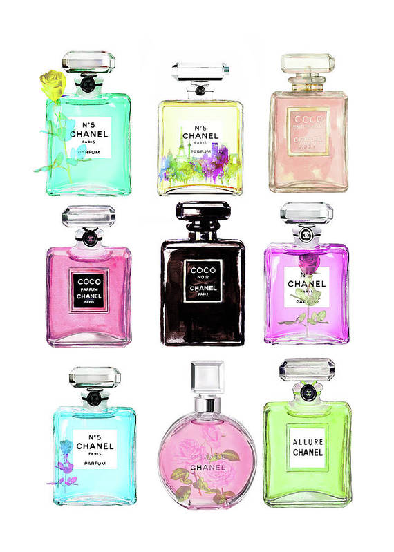 Chanel Art Print featuring the painting Chanel Perfume Set 9er by Del Art
