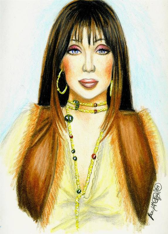Woman Art Print featuring the drawing Cher by Scarlett Royal