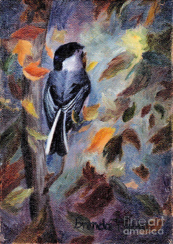 Bird Art Print featuring the painting Chickadee In The Fall by Brenda Thour
