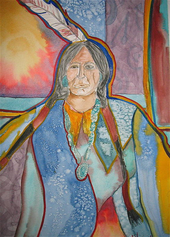 Native American Style Art Print featuring the painting Chief by K Hoover