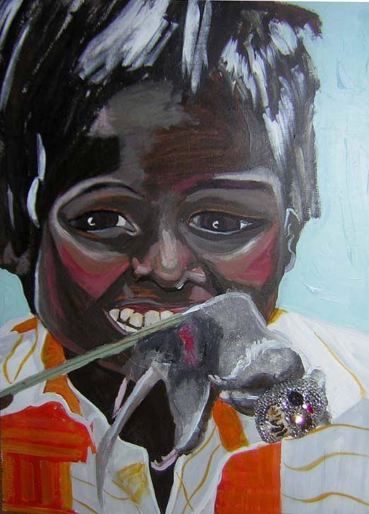 Greed Art Print featuring the painting Child Eating A Rat 2007 For The Love Of Money by Michelley QueenofQueens