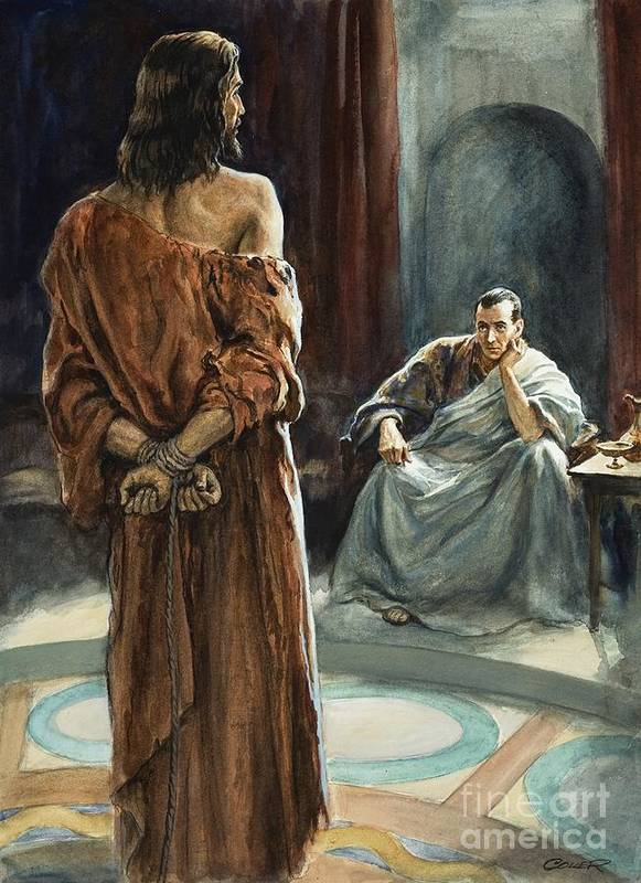 Christ; Pilate; Trial; Roman; Toga; Governor; Bible; Jesus; Rome Art Print featuring the painting Christ In Front Of Pontius Pilate by Henry Coller