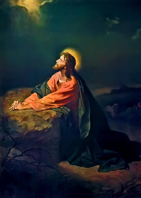 Christ In The Garden Print Art Print featuring the painting Christ In Garden Of Gethsemane by Heinrich Hofmann