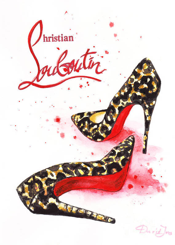 3d024c2accf9 Christian Louboutin Art Print featuring the painting Christian Louboutin  Shoes Print by Del Art