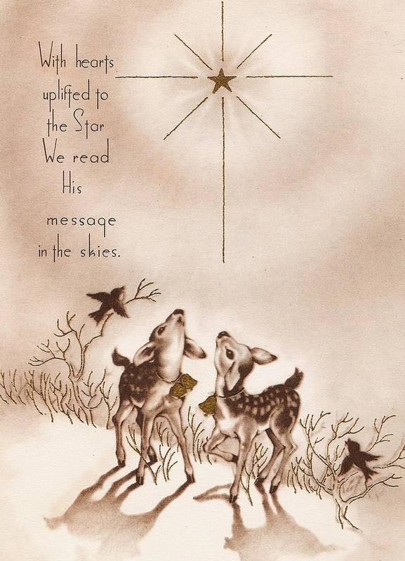 Christmas Greetings 1083 , Vintage Christmas Cards , Little Deers Art Print