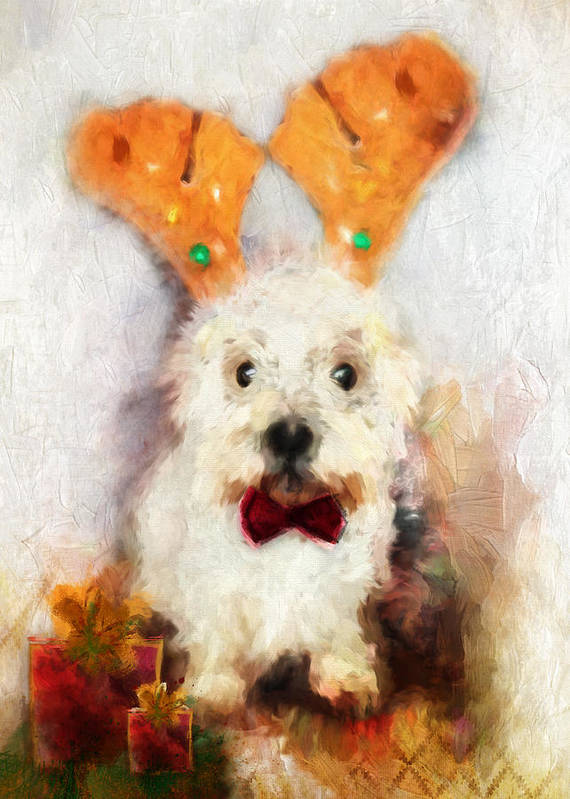 Christmas Art Print featuring the painting Christmas Westie by Christina VanGinkel