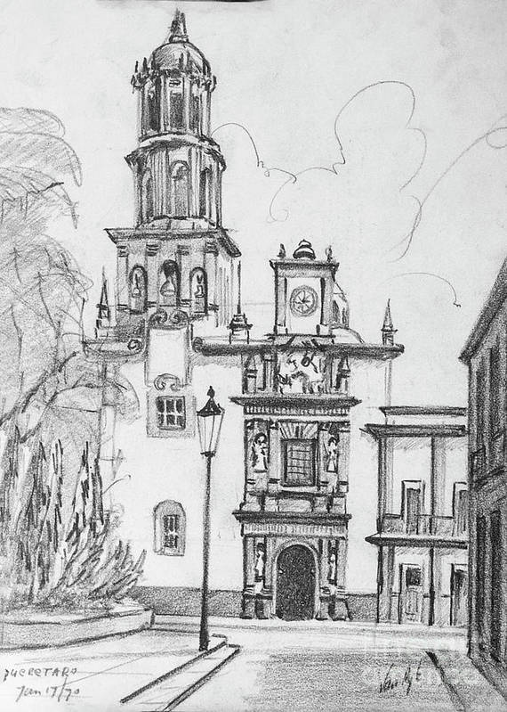 Wood Prints Art Print featuring the drawing Church In Queretaro, Mx by Anthony Vandyk