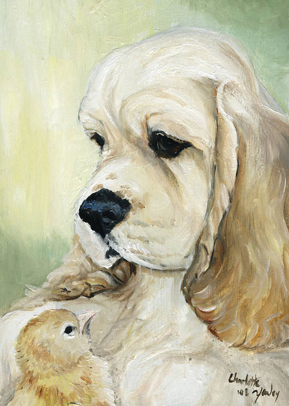 Dog Art Print featuring the painting Cocker Spaniel And Chick by Charlotte Yealey