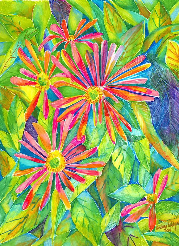 Daisy Art Print featuring the painting Colorful Daisies by Arline Wagner