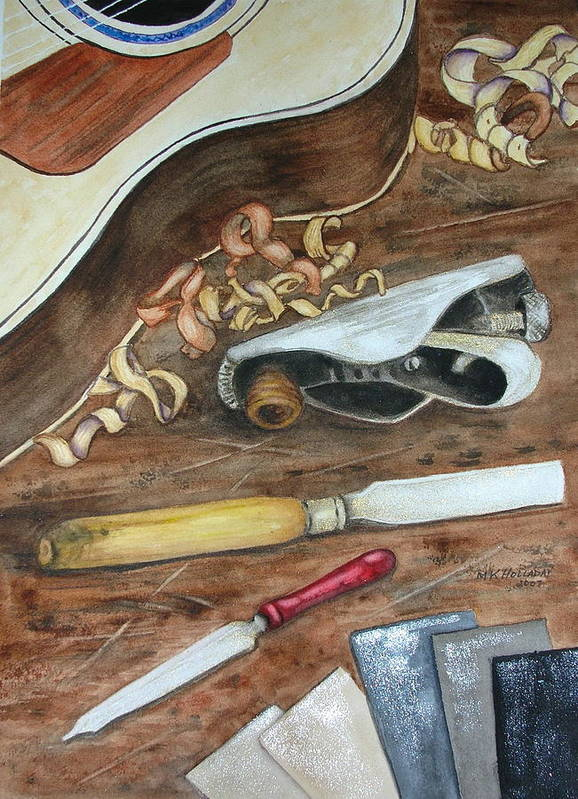 Guitars Art Print featuring the painting Creative Process by Mary Kay Holladay