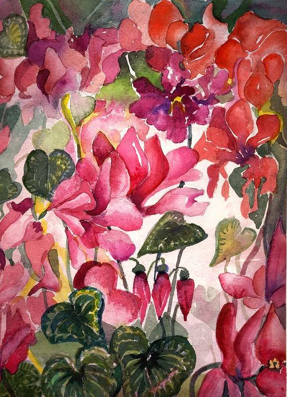 Cyclamen Art Print featuring the painting Cyclamen by Mindy Newman