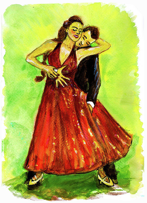 Dancing With The Stars Art Print featuring the painting Dancing In The Showlights by Stephanie Clarkson